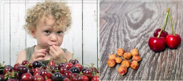 Ребенок ест вишню с косточками